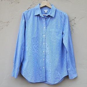 J Crew Blue Striped Dobby Washed Shirt Size Small